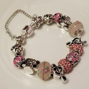🆕️Stainless Steel- Pink Charm Bracelet 💝 18cm